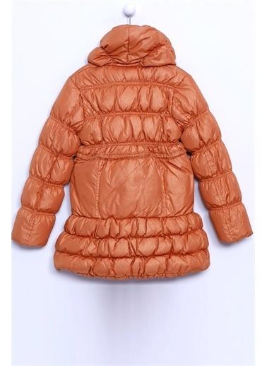 Silversun Kids Fermuarlı Önde Düğme Detaylı Belden Büzmeli Şişme Kız Çocuk Mont Mc 9196 Taba